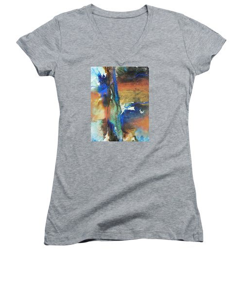Electric And Warm Women's V-Neck T-Shirt (Junior Cut) by Becky Chappell