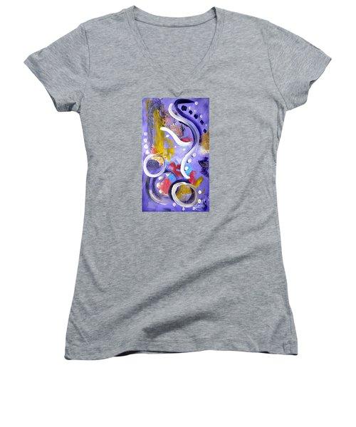 Elephant Dance Women's V-Neck T-Shirt (Junior Cut) by Lynda Cookson