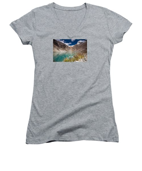 Emerald Green Mountain Lake At 4500m Women's V-Neck T-Shirt