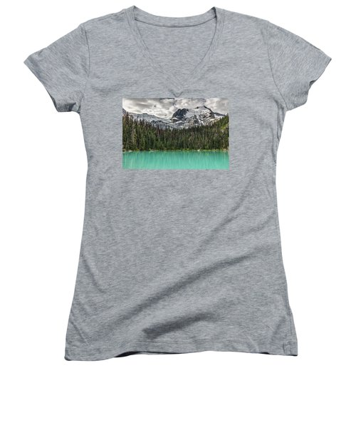Women's V-Neck T-Shirt (Junior Cut) featuring the photograph Emerald Reflection by Pierre Leclerc Photography
