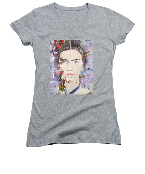Women's V-Neck T-Shirt (Junior Cut) featuring the painting Emily Dickinson - Oil Portrait by Fabrizio Cassetta