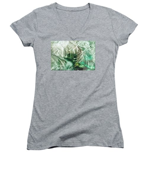 Encaustic Abstract Green Foliage Women's V-Neck
