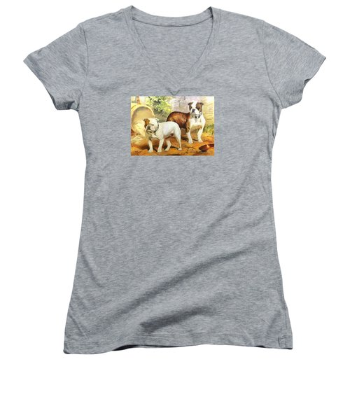 Women's V-Neck T-Shirt (Junior Cut) featuring the digital art English Bulldogs by Charmaine Zoe