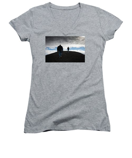 Women's V-Neck T-Shirt (Junior Cut) featuring the photograph Etna, Red Mount Crater by Bruno Spagnolo