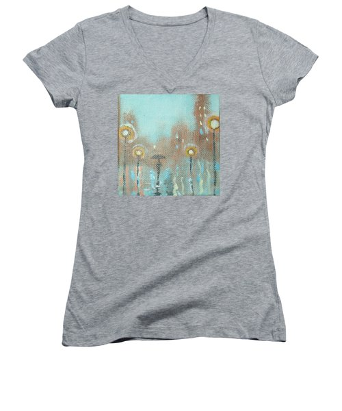 Women's V-Neck T-Shirt (Junior Cut) featuring the painting Evening Stroll by Raymond Doward