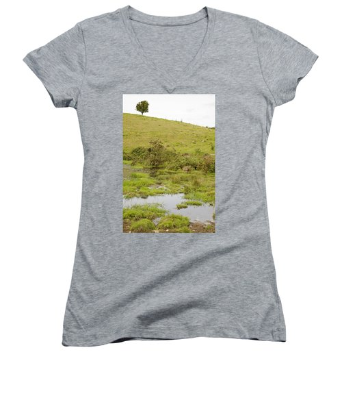 Women's V-Neck T-Shirt (Junior Cut) featuring the photograph Fairy Tree In Ireland by Ian Middleton