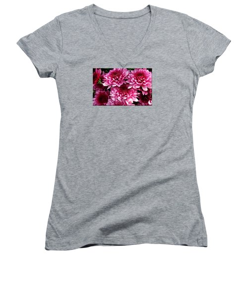 Fall Flowers Women's V-Neck T-Shirt (Junior Cut)