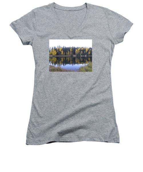 Potty Pond Reflection - Fall Colors Divide Co Women's V-Neck