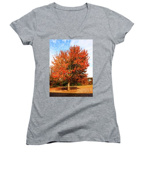 Women's V-Neck T-Shirt (Junior Cut) featuring the photograph Fall Time by Randy Sylvia
