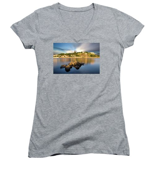 Famous Vysehrad Church During Sunny Day. Amazing Cloudy Sky In Motion. Vltava River, Prague, Czech Republic Women's V-Neck (Athletic Fit)