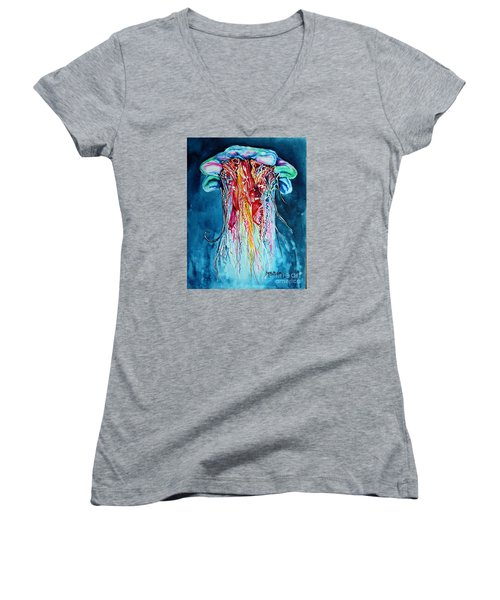 Women's V-Neck T-Shirt (Junior Cut) featuring the painting Fantasia by Maria Barry