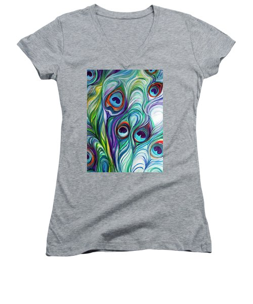 Feathers Peacock Abstract Women's V-Neck T-Shirt (Junior Cut) by Marcia Baldwin