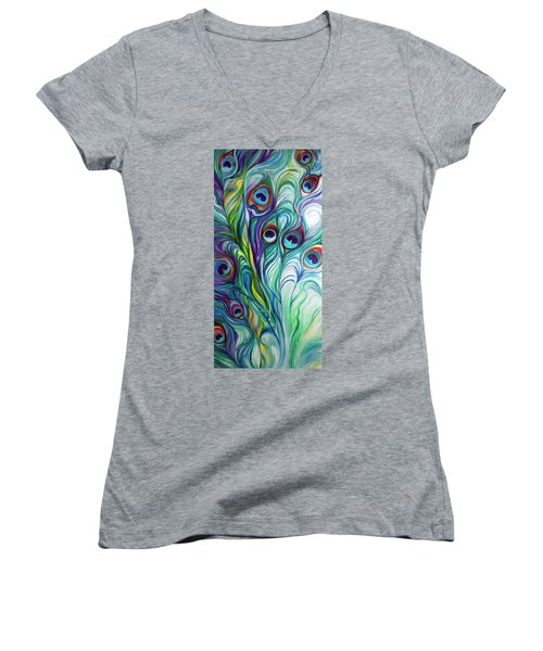 Feathers Peacock Abstract Women's V-Neck