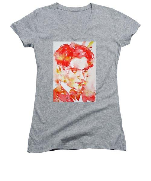 Women's V-Neck T-Shirt (Junior Cut) featuring the painting Federico Garcia Lorca - Watercolor Portrait by Fabrizio Cassetta