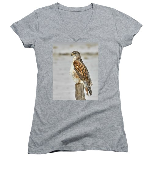Women's V-Neck T-Shirt (Junior Cut) featuring the photograph Ferruginous Hawk by Doug Herr
