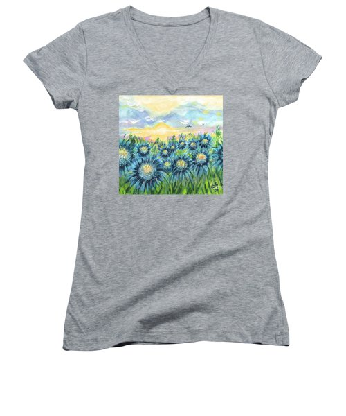 Field Of Blue Flowers Women's V-Neck (Athletic Fit)
