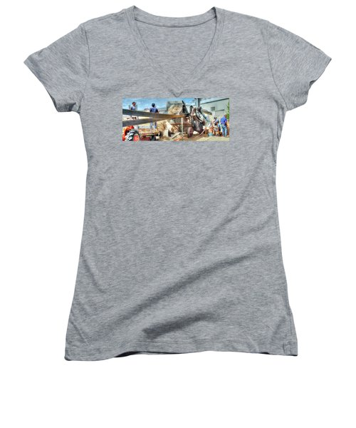 Filling The Sack 3485 Women's V-Neck T-Shirt (Junior Cut) by Jerry Sodorff