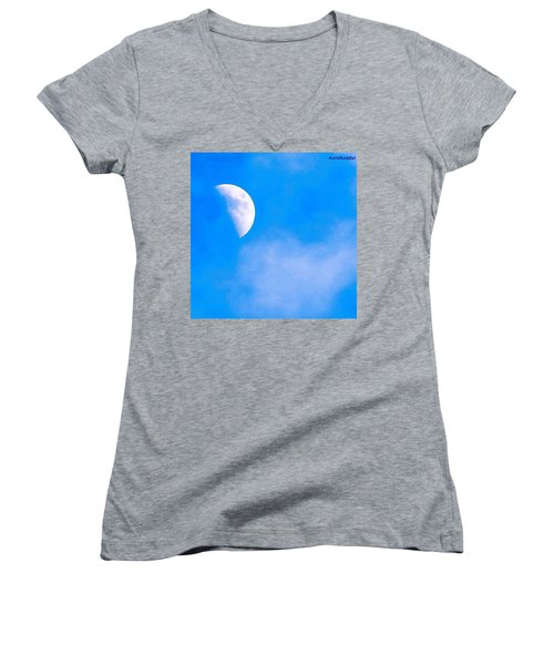 Finally Some #bluesky And The #moon Women's V-Neck (Athletic Fit)