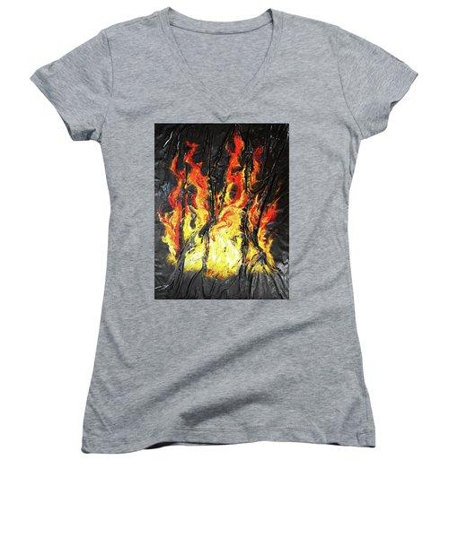 Fire Too Women's V-Neck T-Shirt (Junior Cut) by Angela Stout