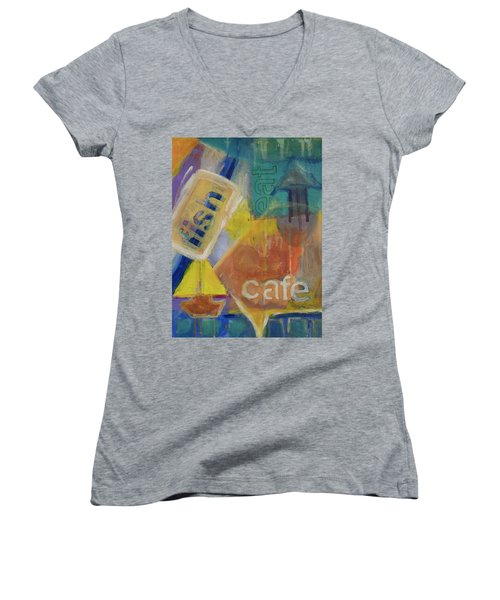 Women's V-Neck T-Shirt (Junior Cut) featuring the painting Fish Cafe by Susan Stone