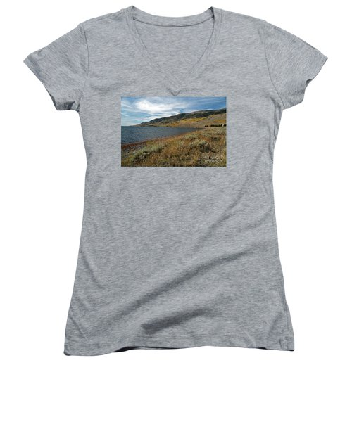 Fish Lake Ut Women's V-Neck T-Shirt (Junior Cut) by Cindy Murphy - NightVisions
