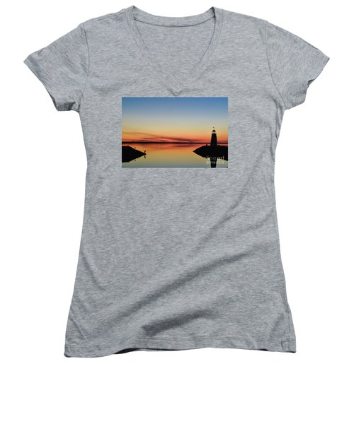 Fishing At Sunset Women's V-Neck