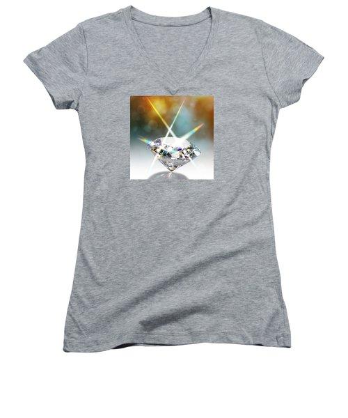 Flashing Diamond Women's V-Neck T-Shirt (Junior Cut) by Atiketta Sangasaeng