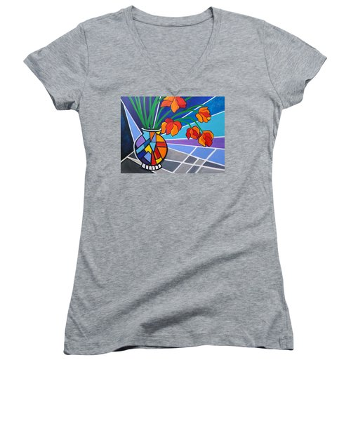 Floral Fantasy Women's V-Neck T-Shirt