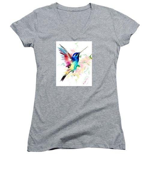 Flying Hummingbird Women's V-Neck (Athletic Fit)