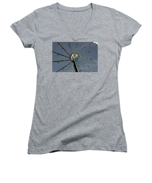 Women's V-Neck T-Shirt (Junior Cut) featuring the photograph Foldable Solar Collector by Hans Engbers