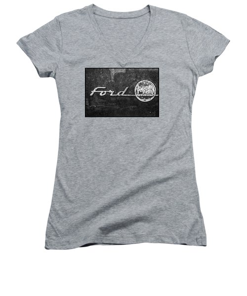 Ford F-100 Emblem On A Rusted Hood Women's V-Neck