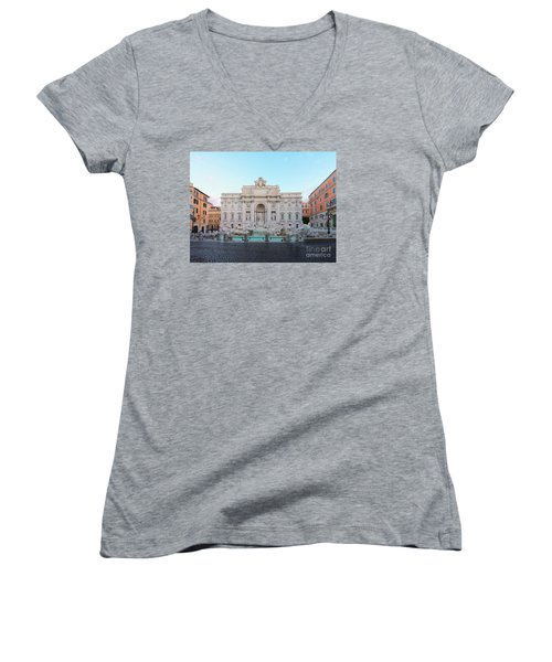 Fountain Di Trevi And Sunrise, Rome Women's V-Neck T-Shirt (Junior Cut) by Anastasy Yarmolovich