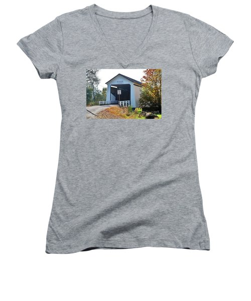 Gallon House Covered Bridge Women's V-Neck T-Shirt (Junior Cut) by Ansel Price