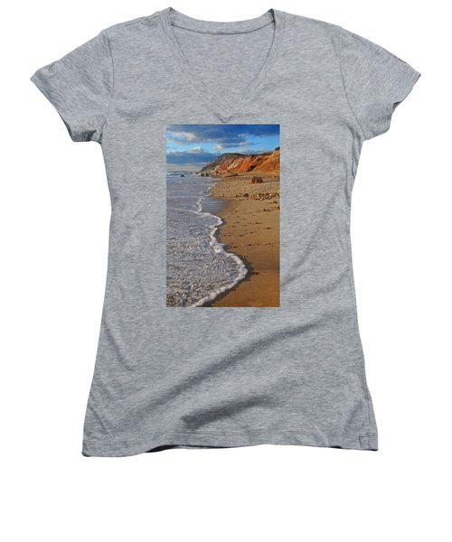 Gayhead Cliffs Marthas Vineyard Women's V-Neck T-Shirt (Junior Cut) by Dave Mills