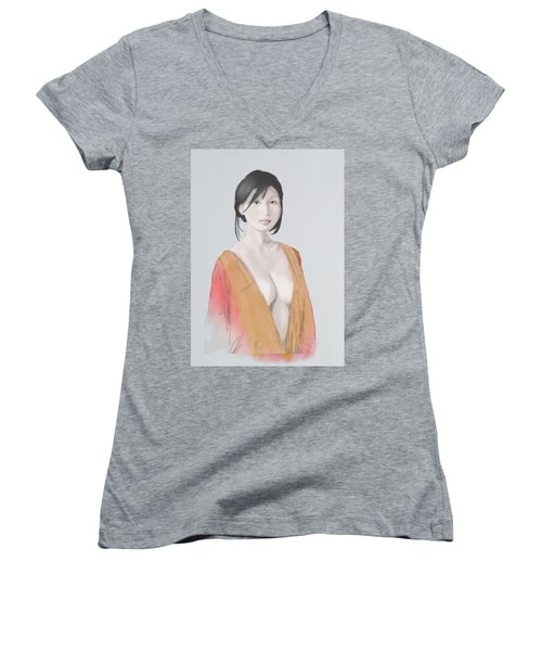 Women's V-Neck featuring the mixed media Geisha by TortureLord Art