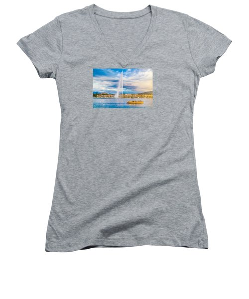Geneva Women's V-Neck T-Shirt (Junior Cut) by JR Photography