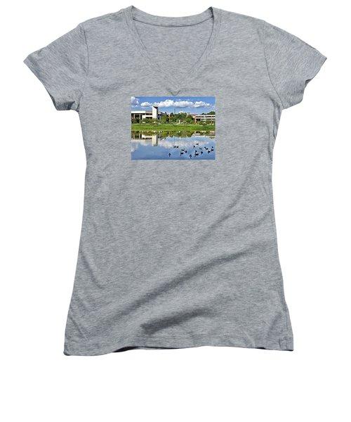 George Mason University Women's V-Neck T-Shirt (Junior Cut) by Brendan Reals
