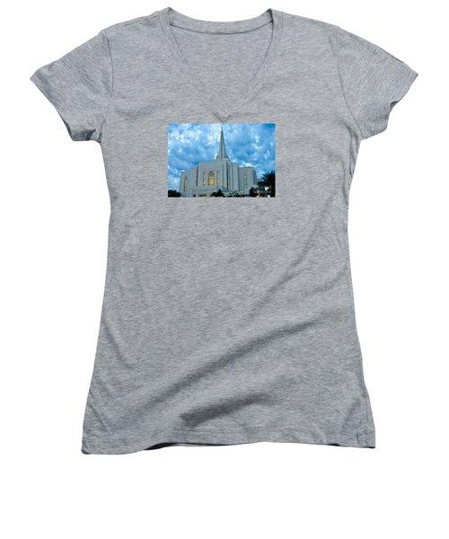 Gilbert Arizona Lds Temple Women's V-Neck T-Shirt (Junior Cut) by Nick Boren