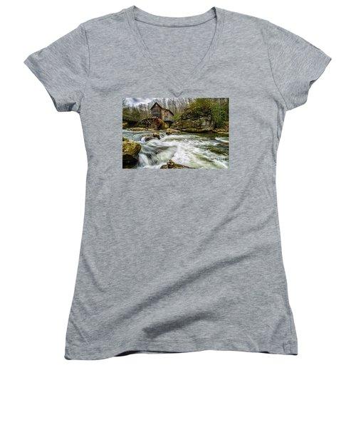 Glade Creek Grist Mill Women's V-Neck T-Shirt (Junior Cut) by Thomas R Fletcher