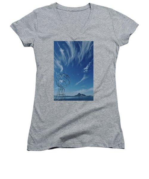 Globe Symbol View  On Sky Background In Norway Women's V-Neck T-Shirt (Junior Cut) by Tamara Sushko