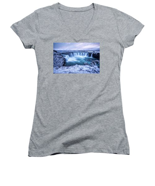 Godafoss Waterfall In Iceland Women's V-Neck (Athletic Fit)