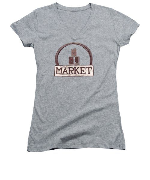 Going To The Market Women's V-Neck T-Shirt (Junior Cut) by Pamela Walton