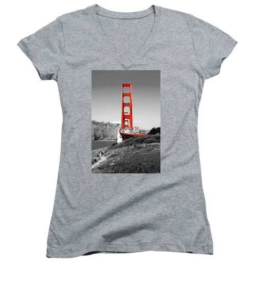 Golden Gate Women's V-Neck T-Shirt (Junior Cut) by Greg Fortier