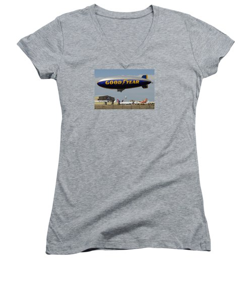 Goodyear Blimp Spirit Of Innovation Goodyear Arizona September 13 2015 Women's V-Neck T-Shirt (Junior Cut) by Brian Lockett