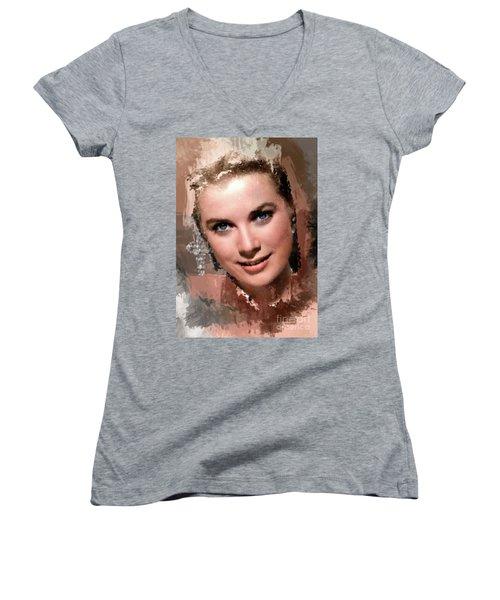 Grace Kelly, Vintage Hollywood Actress Women's V-Neck T-Shirt (Junior Cut) by Mary Bassett