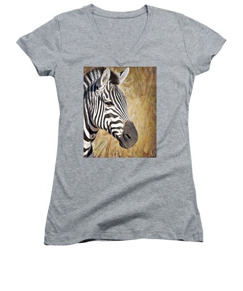 Grant's Zebra_a1 Women's V-Neck (Athletic Fit)