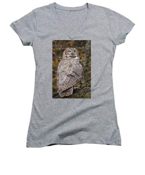 Great Horned Owl Women's V-Neck T-Shirt (Junior Cut) by Tyson Smith
