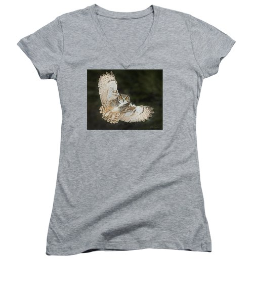 Great Horned Owl Wingspread Women's V-Neck T-Shirt (Junior Cut) by CR Courson