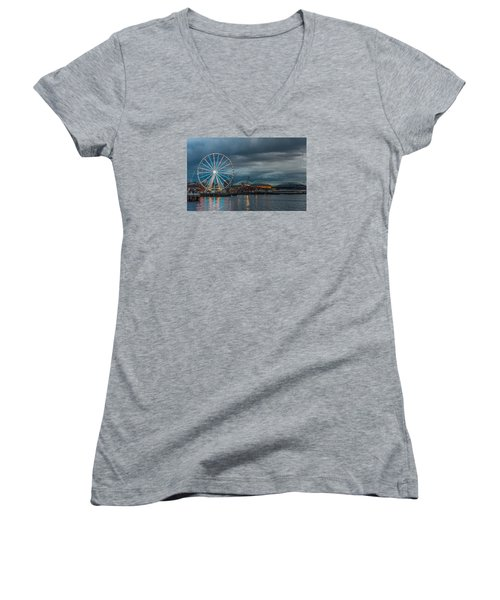 Great Wheel Women's V-Neck T-Shirt (Junior Cut) by Jerry Cahill