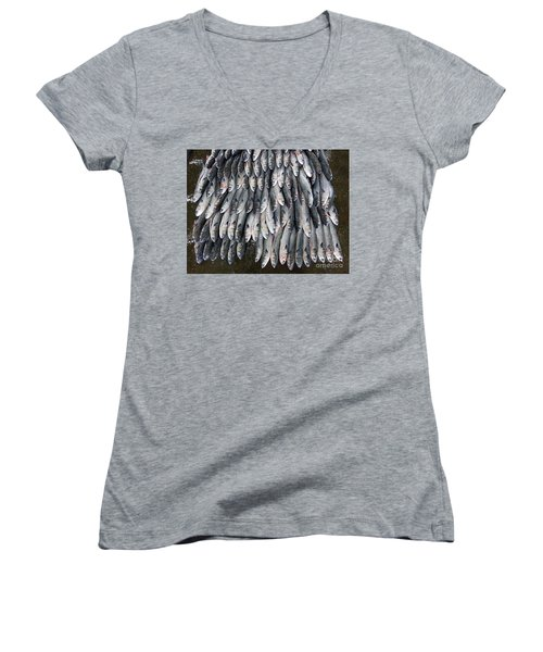 Women's V-Neck T-Shirt (Junior Cut) featuring the photograph Grey Mullet Fish For Sale At The Fish Market by Yali Shi